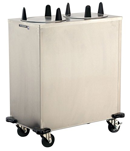 Lakeside 5207 Regular Mobile Plate Dispenser, Stainless Steel Cabinet, 2 Stack, Non-Heated, Accommodates Plates 6-5/8