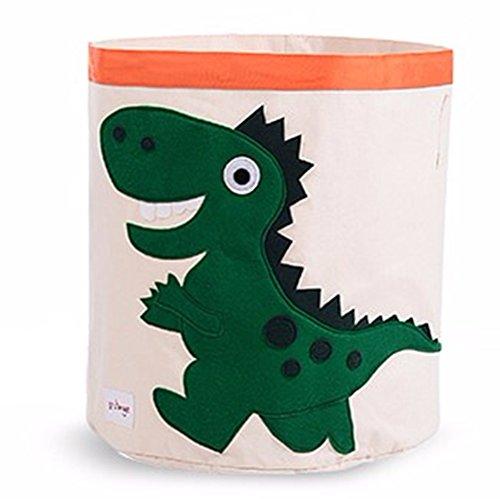 Basket Dinosaur Book (Collapsible Canvas Storage Basket or Bin Toy Organizer for Kids Playroom, Clothes, Children Books, Stuffed Animal (Green Dinosaur))