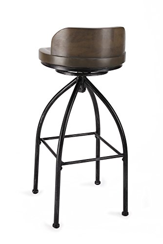 ustrial Bar Stools 30 Inch Bar Stool with Back Swivel Bar Height Wood and Metal Brown ()