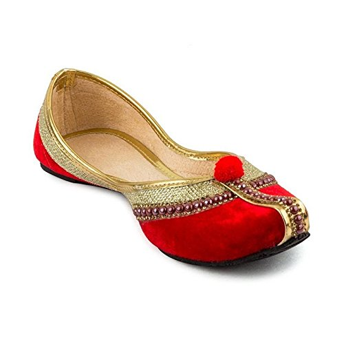 StepIndia Designer Ethnic Rajasthani Jaipuri Velvet Mojari Jutti Bellies for Women and Girls | Color : Red