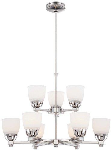 Minka Lavery Chandelier Pendant Lighting 1509-613, Brookview Glass Dining Room, 9 Light, 540 Watts, Polished Nickel -