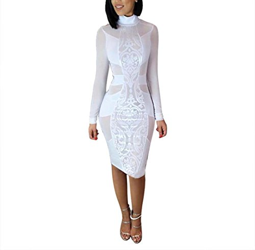 Tuesdays2 Women's Sexy Mesh See Through Bodycon Clubwear Dress (XL, White)