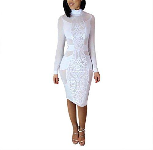 Tuesdays2 Women's Sexy Mesh See Through Bodycon Clubwear Dress (XL, White)