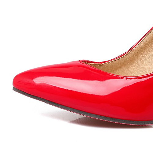 Balamasa Dames Spitse Puntspikes Stilettos Laag Uitgesneden Bovendeel Patent-lederen Pumps Schoenen Rood