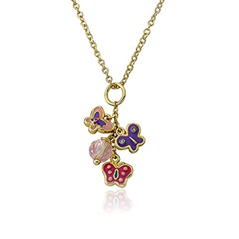 Little Miss Twin Stars Girls' Charming Treats 14k Gold-Plated Butterflies Cluster Pendant Necklace, 14