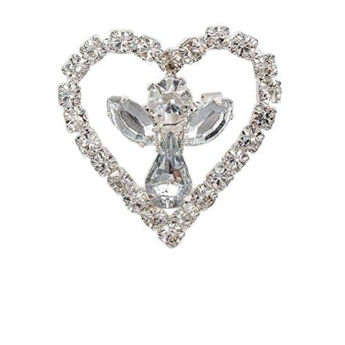 (Rhinestone Heart & Angel Pin)