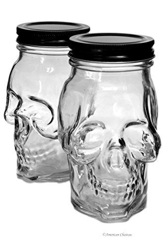Set 2 Large 16oz Skull Glass Kitchen Food