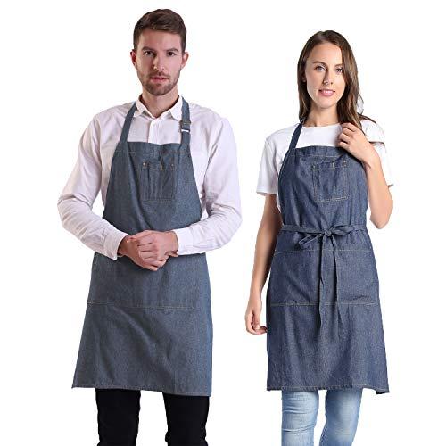 BIGHAS Adjustable Denim Jean Aprons with 4 Pockets for Women Men Chef, Cooking Kitchen Gardening Cafe (4#)