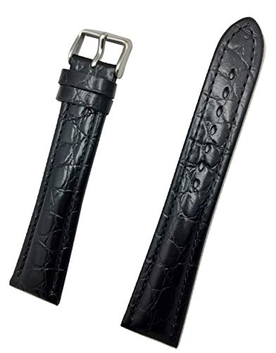 22mm Extra Long, Black Genuine Leather Watch Band   Round Alligator Crocodile Grained, Medium Padded Replacement Wrist Strap That Brings New Life to Any Watch (Mens Extra Long - Watch Crocodile Black Band