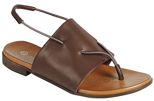 Cambridge Selezionare Donna Open Toe Infradito Slingback Stretch Slip-on Flat Sandal Marrone Pu