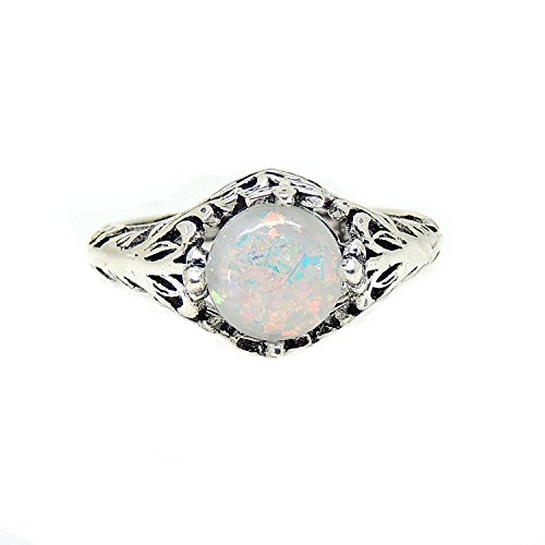 Fran Lab Created Fire 8mm Opal Antiqued Filigree Ring - Ginger Lyne Collection (Ring 14kt Filigree)