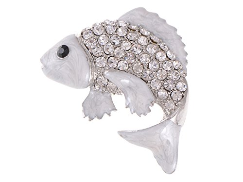 (Alilang Koi Gold Fish Carp Silver Tone Enamel Clear White Crystal Rhinestone Ocean Animal Pin Brooch)