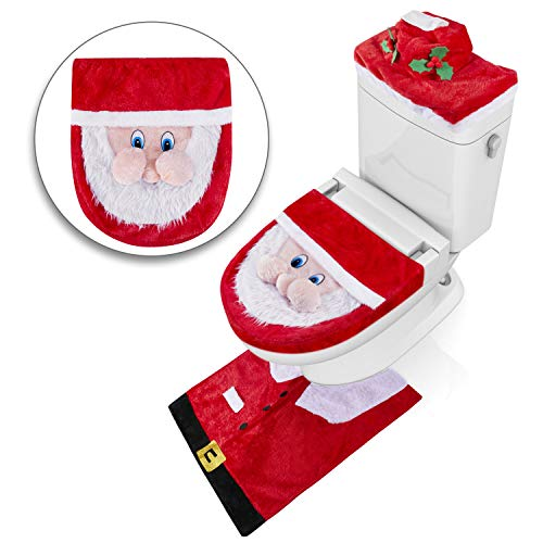 iYoYo 2018 Newest Christmas Happy 3D-Nose Santa Christmas Toilet Seat Cover and Rug Set, Tank Cover with Tissue Box 3 Piece Set, Christmas Bathroom Decoration Decor -