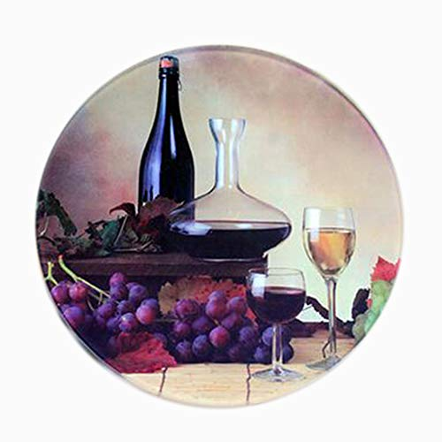 Multi-functional Tempered Glass Cutting Chopping Board Kitchen Surface Chef Board Red Wine round Diameter 8