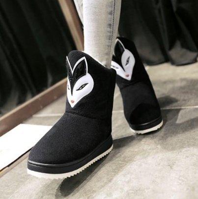Y-Hui Ugg Botas de tubo corto femenino en el otoño y el invierno cálido botas de algodón estudiantes un espesor inferior antideslizante botas cortas,36-37 (3435 pies),Gules