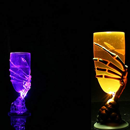 Jeeke Halloween Drinking Cup LED Glowing Ghost Claw Goblet Halloween Wine Cup for Bar Halloween Party