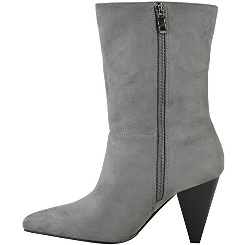 80s Size High Womens Oversized Heelberry® Cone Celeb Suede Slouch Boots Ladies Grey Faux Calf Ankle Block Fashion Heels Thirsty qAZwHgfZI