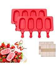 2Pack Popsicle Mold Silicone Cakesicle Molds for Ice Pop Makers Homemade DIY Ice Cream with 50Pcs Wooden Sticks