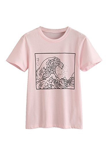 Romwe Women's Short Sleeve Top Casual Graphic Print Tee Shirt Pink XL