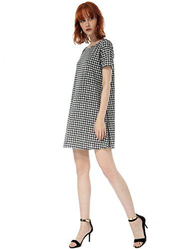 Dress Over T Tunic Plaid Shift Dresses Short Sleeve OEUVRE Women's Black Shirt Pull wTvqKt
