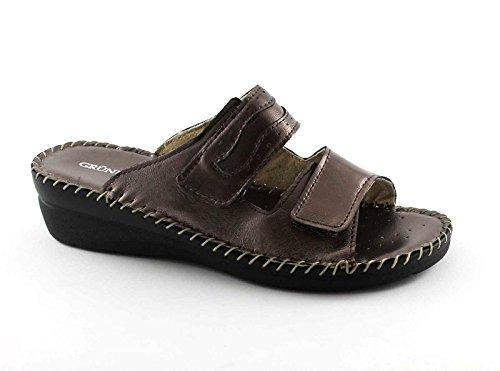 Grünland CERA CI2102 zapatillas de cuero mujer de peltre zeppetta lágrima Marrone