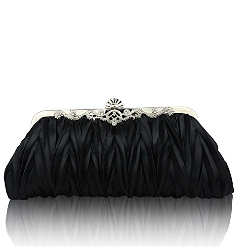 Black Satin Clutch (Kingluck Silk Cocktail Evening Handbags/ Clutches in Gorgeous Silk More Colors Availabl (black))