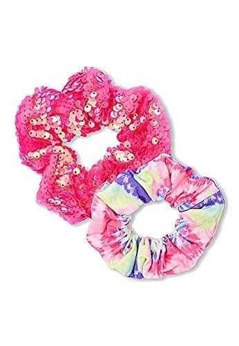 Justice Girls Hair Accessories (Tie Dye & Sequin Scrunchie - 2 Pack Neon Pink) ()