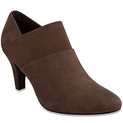 London Fog Womens Bobbie Heel Ankle Booties Brown 6