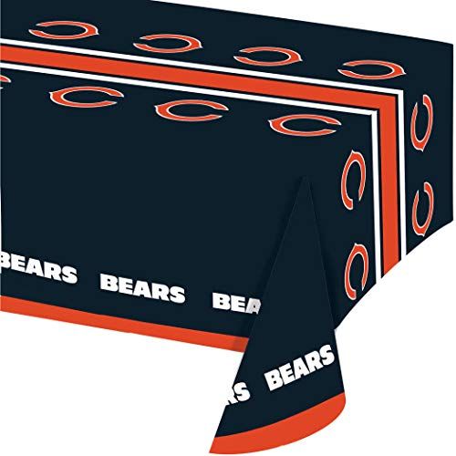 54 X 102 Inch NFL Bears Tablecloth, Football Themed Rectangle Table Cover Sports Patterned, Team Color Logo Fan Merchandise Athletic Spirit Navy Blue Orange, Plastic ()