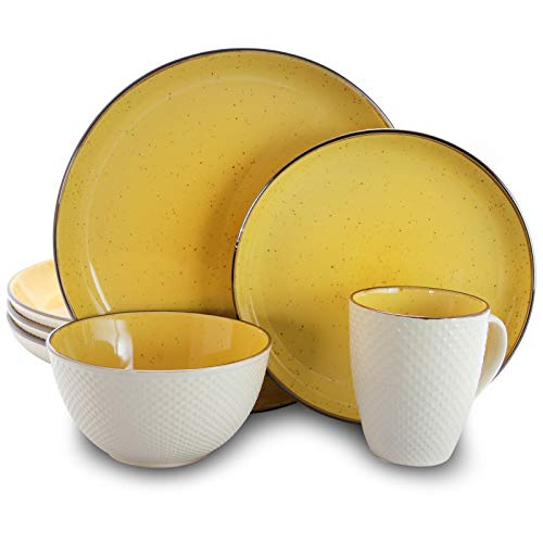 Elama EL-MELLOWYELLOW Mellow-Yellow 16-Piece Dinnerware Set, 16pc, Yello and white