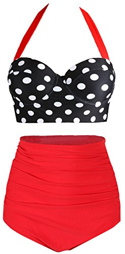 Amourri Womens Retro Vintage Polka Underwire High Waisted Swimsuit Bathing Suits Bikini (Medium (fits Like US 4-6), Black+red) (Halter Bikini Gottex)