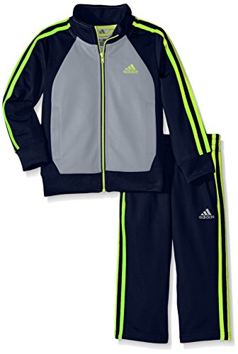 adidas Toddler Boys' Tricot Zip Up Jacket and Pant Set, Dark Indigo/Gray, 2T