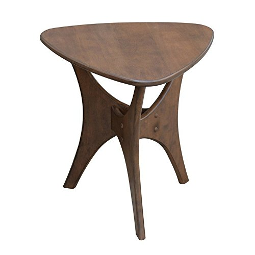 Mid Century Side Table Sofa Side Table Accent Furniture Wood Small Table Living Room Bedroom Design Geometric Contemporary Chic Modern Color Pecan & eBook by BADA Shop