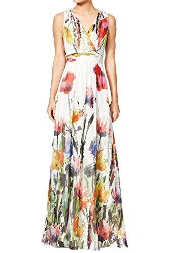 YACUN Women's Floral Sleeveless V-Neck Maxi Swing Party Dress White (Yacun Women Maxi Dress)