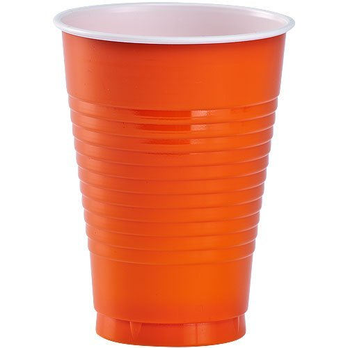 Party Dimensions 20 Count Plastic Cups, 12-Ounce, Orange
