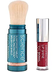 Colorescience Sun Protection Duo, Mineral Powder Sunscreen SPF 50, Lip Shine SPF 35, 1 Set