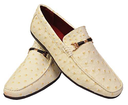 Mauri Ostrich - TAYNO Ozzie Men's Vegan Leather Ostrich Print Slip-On Horsebit Loafer Dress Shoes (8.5, Ivory)
