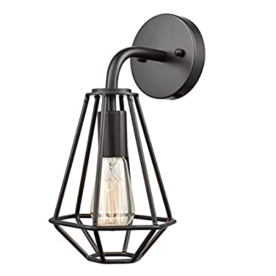 EUL Industrial Cage Wall Sconce Wire Cage Wall Lighting Fixture Metal Sconce 1 Light, Oil Rubbed Bronze
