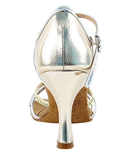 Very Fine Ballroom Latin Tango Salsa Dance Shoes for Women S9282 3-Inch Heel + Foldable Brush Bundle Gold-silver Braid zWgZ44oV4B