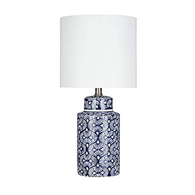 "Ravenna Home Global Ceramic Table Lamp, Bulb Included, 20""H, Blue and White Stylized Fan Design - 10""W x 10""D x 20""H Chinoiserie-inspired ceramic table lamp with a blue-and-white reactive glaze and brushed-nickel accents. Off-white linen drum shade casts an ambient glow Traditional design makes this the perfect accent lamp to blend with a variety of decor and styles - lamps, bedroom-decor, bedroom - 413ThXIUp%2BL. SS400  -"