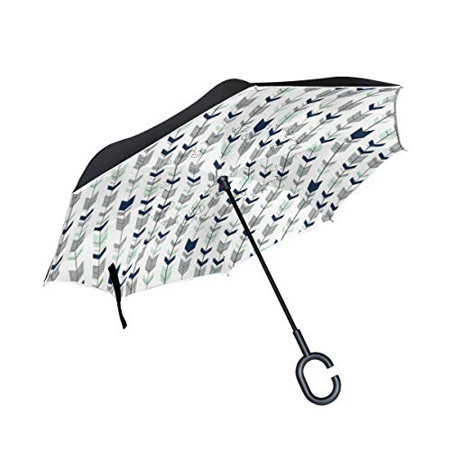 Fletching Arrows Hipster Double Layer Reverse/Inverted Umbrellas for Car Windproof