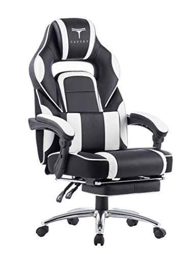413ThvSjdGL - TOPSKY-High-Back-Racing-Style-PU-Leather-Computer-Gaming-Office-Chair-BlackWhite-Ergonomic-Reclining-Design-with-Lumbar-Cushion-Footrest-and-Headrest