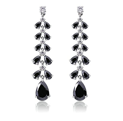 Gnzoe Fashion Long Cubic Zirconia Cluster Drop Black Womens Dangle (Long Cluster Earrings)
