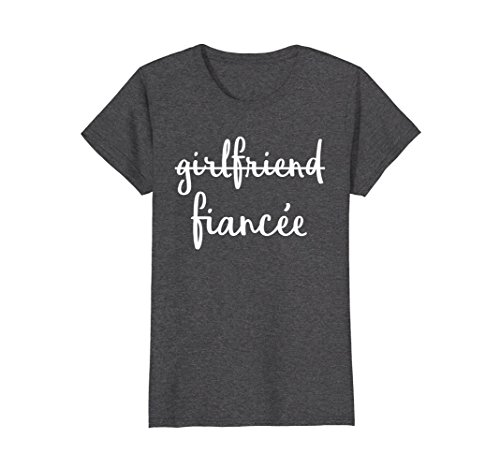 Womens Girlfriend Fiancee T Shirt, Fiance Engagement Party Tshirt Medium Dark Heather