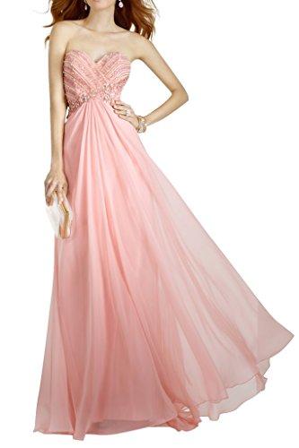 Charmant Damen Hochwertig Rosa Perlen Herzausschnitt Abendkleider Promkleider Abiballkleider Rueckfrei Lang