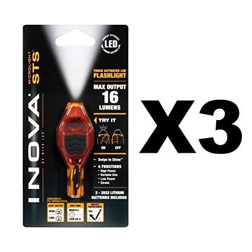 Inova Microlight Key Ring - Nite Ize Inova Microlight Swipe-To-Shine Orange Keychain LED Flashlight (3-Pack)