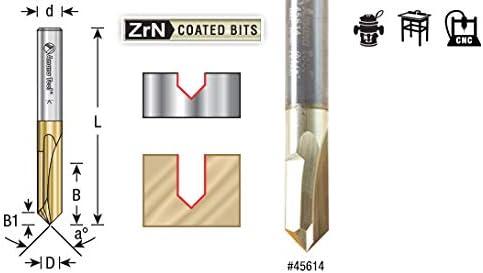 45608Zero Pt 90/° V-Groove /& Engraving 1//8 Dia x 5//8 x 1//8 Shank Amana Tool