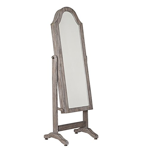 Hives and Honey Free Standing Jewelry Cabinet Full-Length Mirror Jewelry Armoire with Bell Shape, Jewelry Organizer for Rings, Earrings, Bracelets Cosmetics, Grey