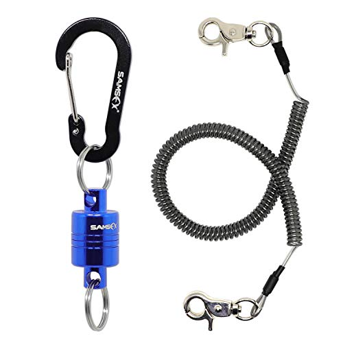 SAMSFX Fly Fishing Quick Release Magnetic Net Holder with Coiled Lanyard Retractor Strongest Magnet ()