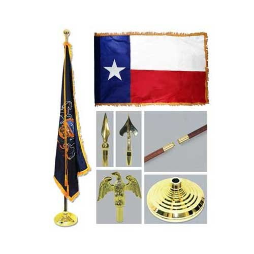 Texas 3ft x 5ft Flag Flagpole Base and Tassel by US Flag Store